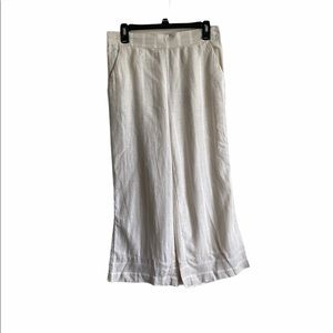LOFT Outlet Wide Leg Crop Linen Pants Beige S